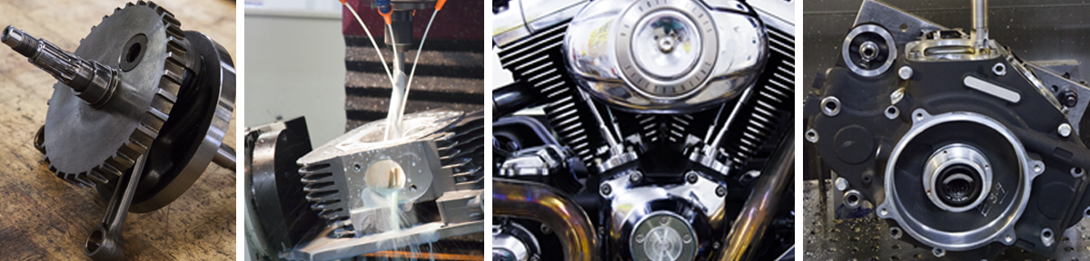 Revolution Performance Harley Davidson Services include crankshaft repair services, crankshaft  case repair services, cylinder services, cylinder head services, case modifications, and full engine rebuilds.